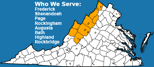 who we serve: frederick, shenandoah, page, rockingham, augusta, bath, highland, and rockbridge